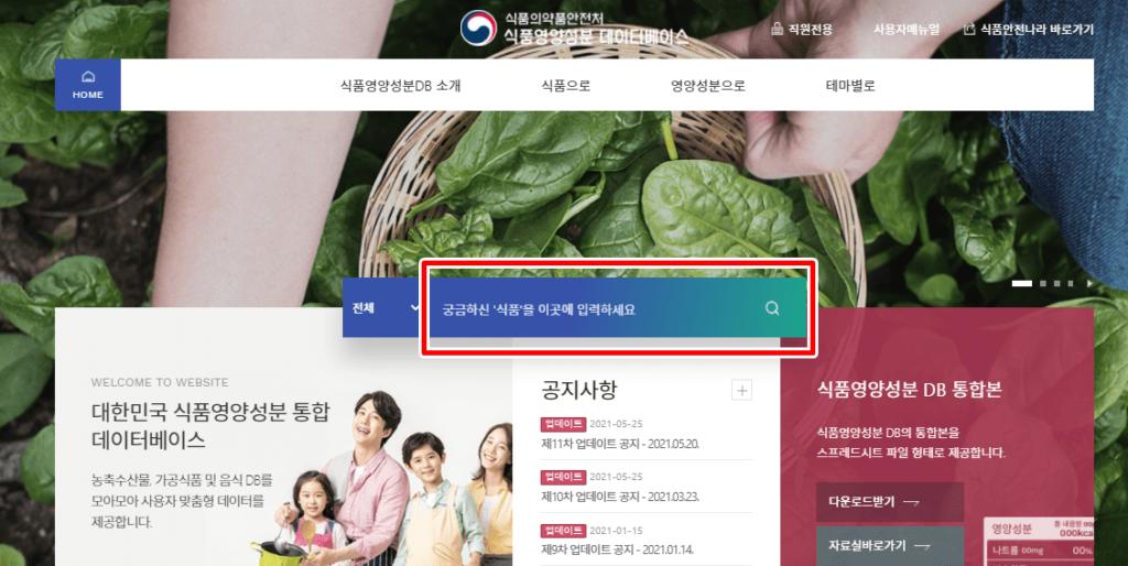 채소 과일 식품 영양 정보 제공 DB 조회